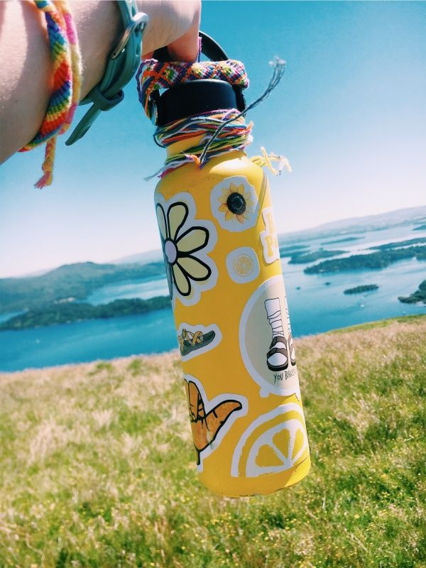 Stickers make a hydroflask.