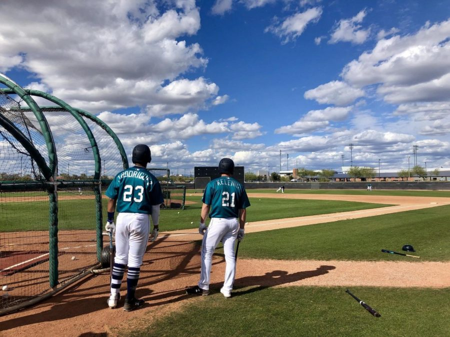 Jarred Kelenic and Julio Rodriguez, two core outfielders of the future for the Mariners taking batting practice.