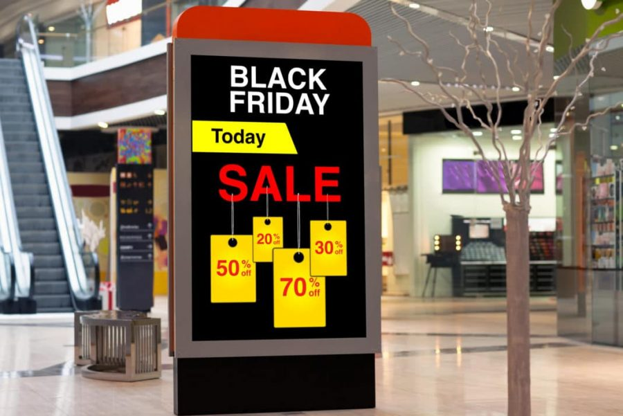 A sign at an empty mall advertises for Black Friday.
