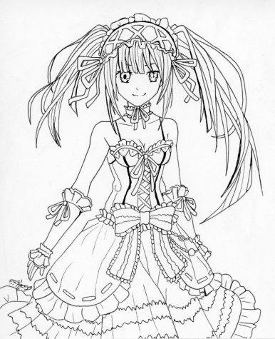 A black and white drawing of Kurumi Tokisaki, a Japanese animated character in the popular anime Date A Live.